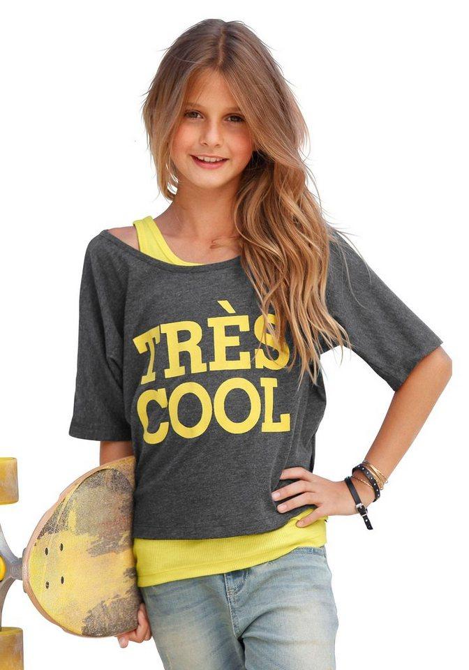 """Arizona """"Tres Cool"""" Shirt & Top (Set, 2-tlg.), für Mädchen in Anthrazit-Gelb"""