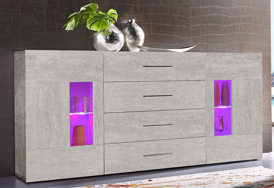 Tecnos Sideboard, Breite 160 cm in Beton-Optik matt