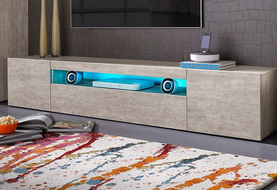 Tecnos Lowboard, Breite 200 cm in Beton-Optik matt