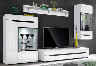 Wohnwand weiß schwarz hochglanz  Hochglanz Wohnwand online kaufen | OTTO