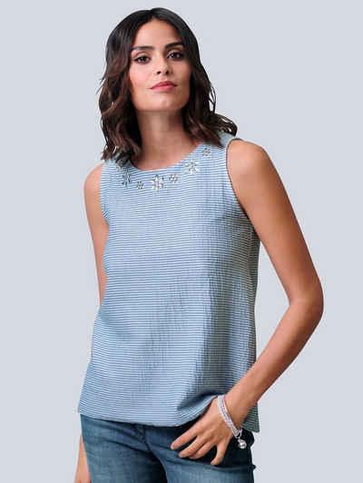 Alba Moda Shirttop in sportiver Seersucker-Qualität