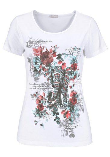 Cheer Print-Shirt, mit Steinen verziert