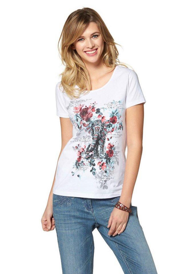 Cheer Print-Shirt mit Steinen verziert in weiß-rot-hellblau-bedruckt
