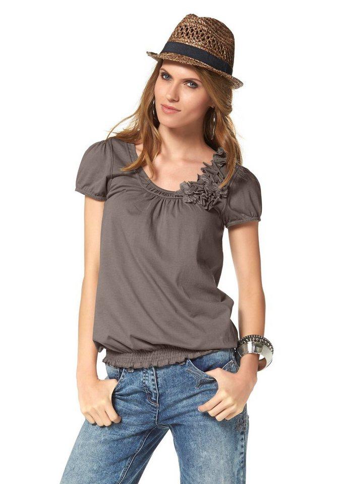 Damen Aniston by BAUR Rundhalsshirt figurumspielend braun   08907208003289