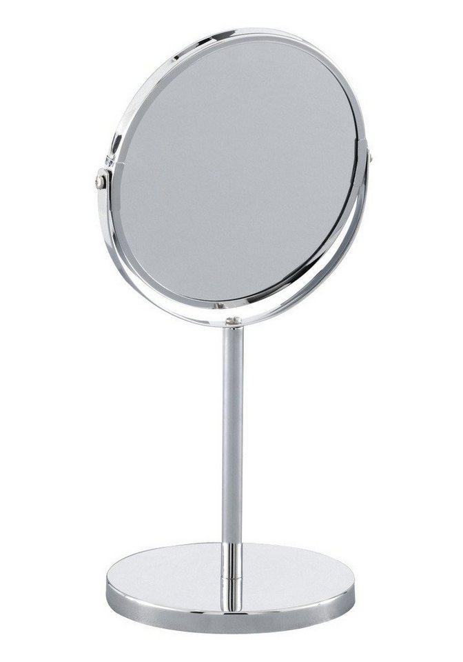 Spiegel / Kosmetikspiegel / Standspiegel »3-fache Vergrößerung« Durchmesser 15 cm in silberfarben