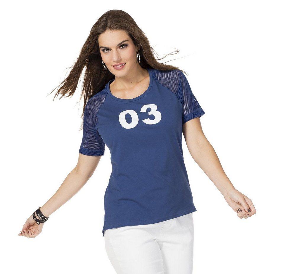 sheego Casual Sportliches Shirt in rauchblau meliert