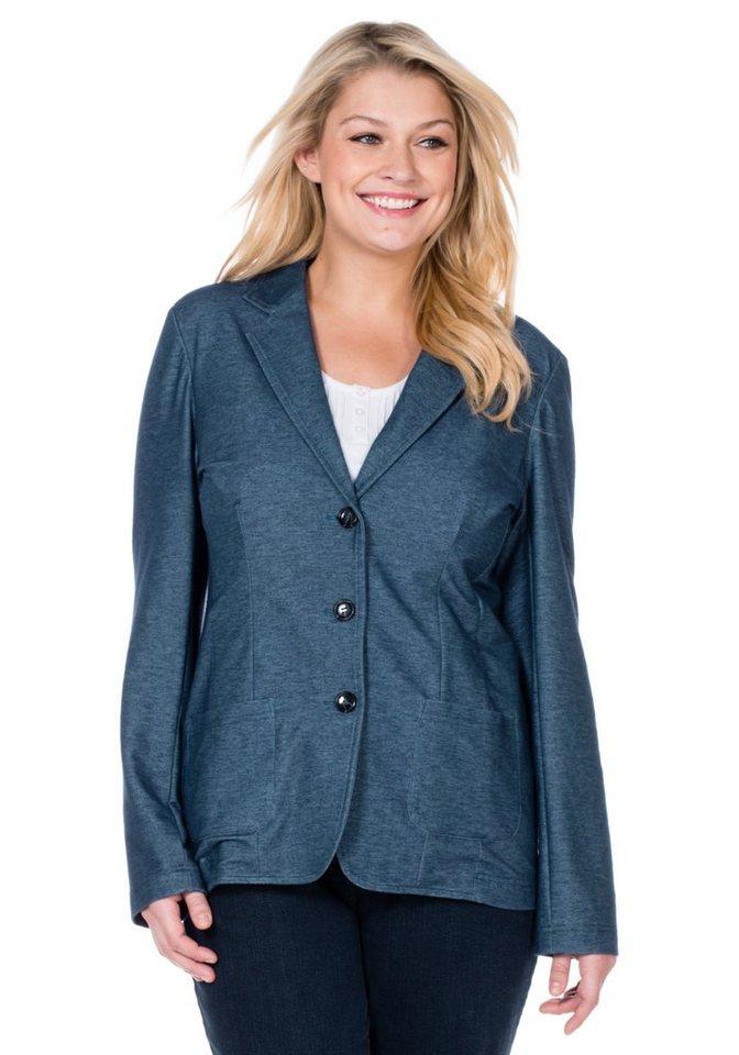 sheego Casual Jersey-Blazer in jeansblau