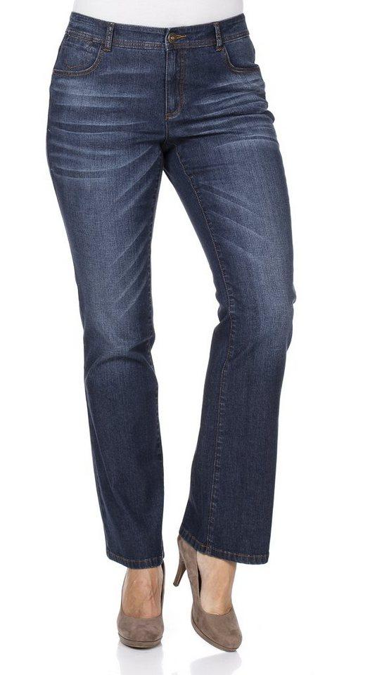 sheego Denim Bootcut-Stretch-Jeans in dark blue denim