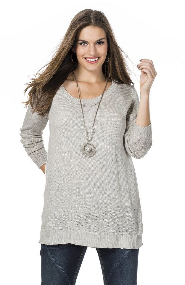 sheego Trend Pullover in silbergrau