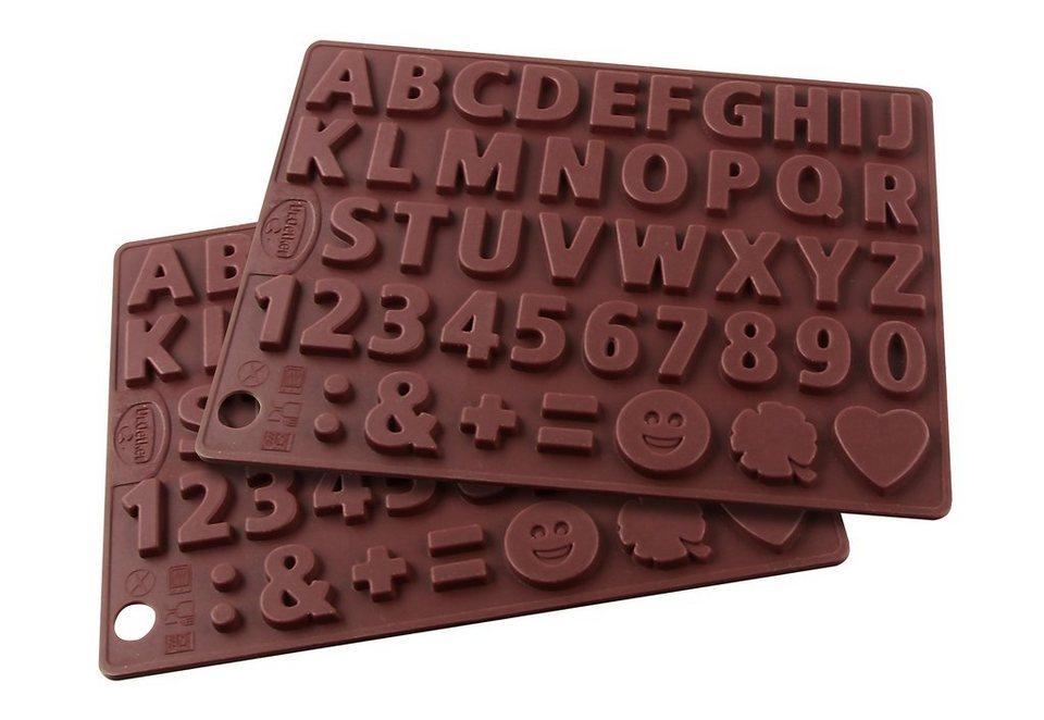 Silikon-Schokoladenform, »Buchstaben und Zahlen«, Dr. Oetker (2er Set) in braun