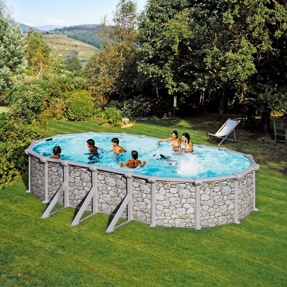 Summer Fun Set: »Aufstell-Ovalpool in Stein-Optik 120 cm Tiefe« (in 3 Größen) in grau
