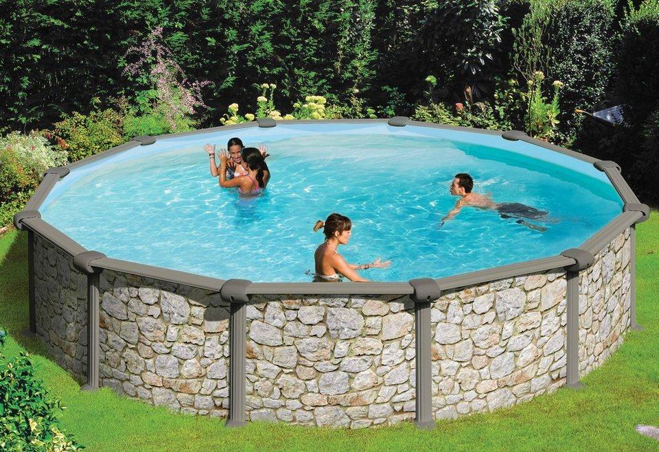 Summer Fun Komplett-Set (9-tlg.): »Aufstell-Rundpool in Stein-Optik 120 cm Tiefe« (in 3 Größen) in grau