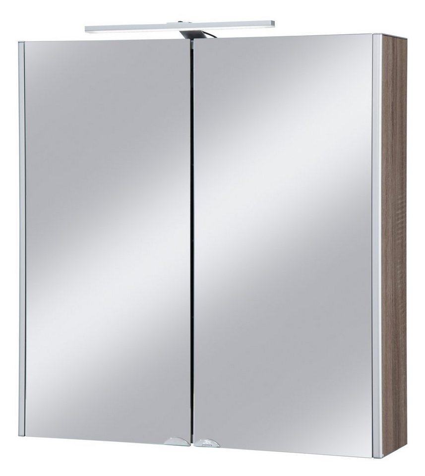 Spiegelschrank »Dekor Alu LED«, Breite 67 cm in eichefarben/trüffelfarben