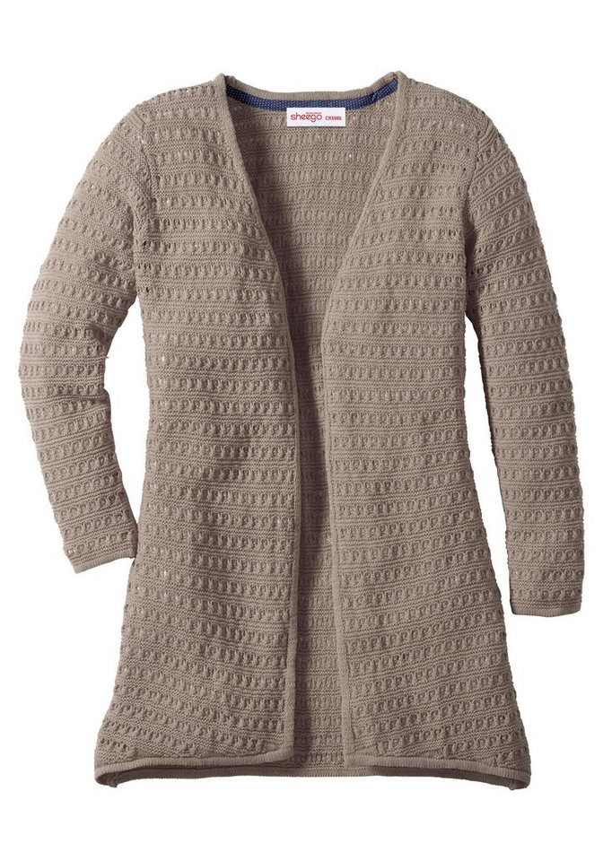 sheego Casual Longstrickjacke mit Lochstrickmuster in taupe