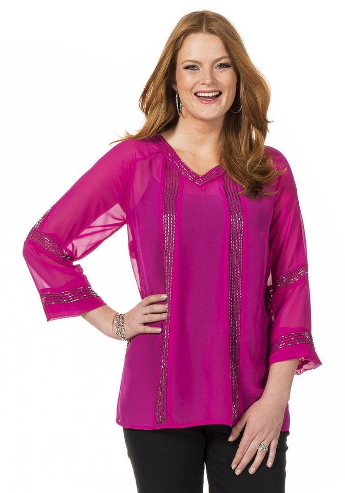 sheego Style Schicke Pailletten Tunika in fuchsia