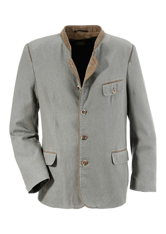 Trachtensakko mit farbig abgesetzten Stehkragen, OS-Trachten in grau/braun