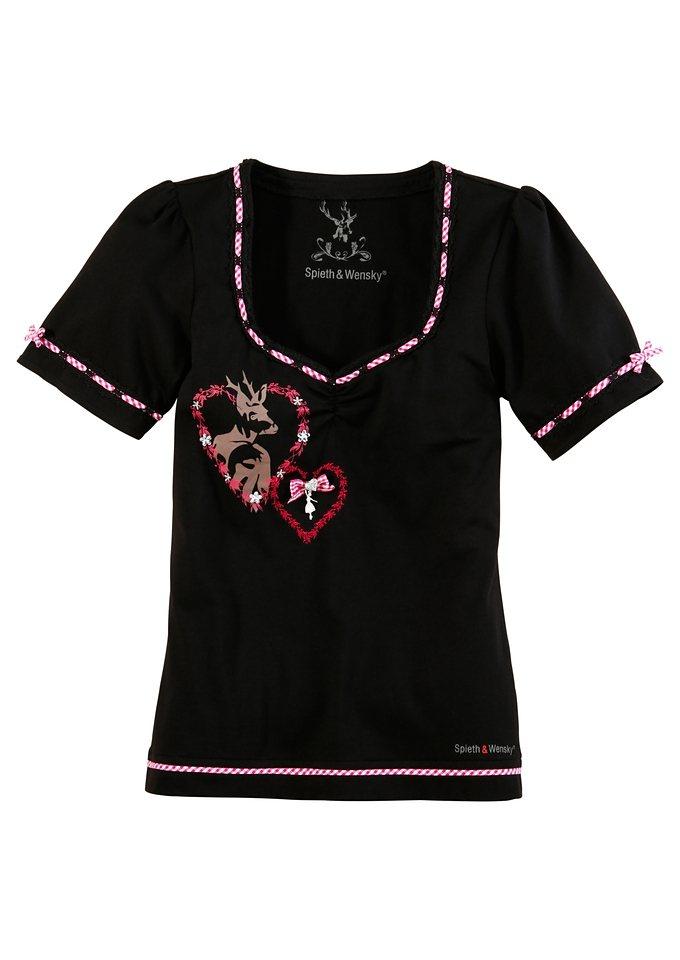 Trachtenshirt mit Glitzersteinen, Spieth & Wensky in schwarz/pink