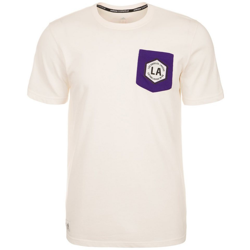 adidas Performance LA Lakers Washed T-Shirt Herren in weiß / lila