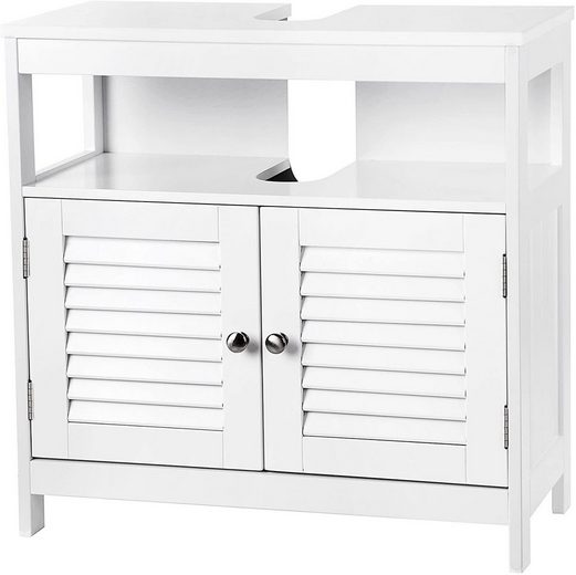 VASAGLE Waschbeckenunterschrank »BBC02WT« Unterschrank, 60 x 60 x 30 cm, weiß