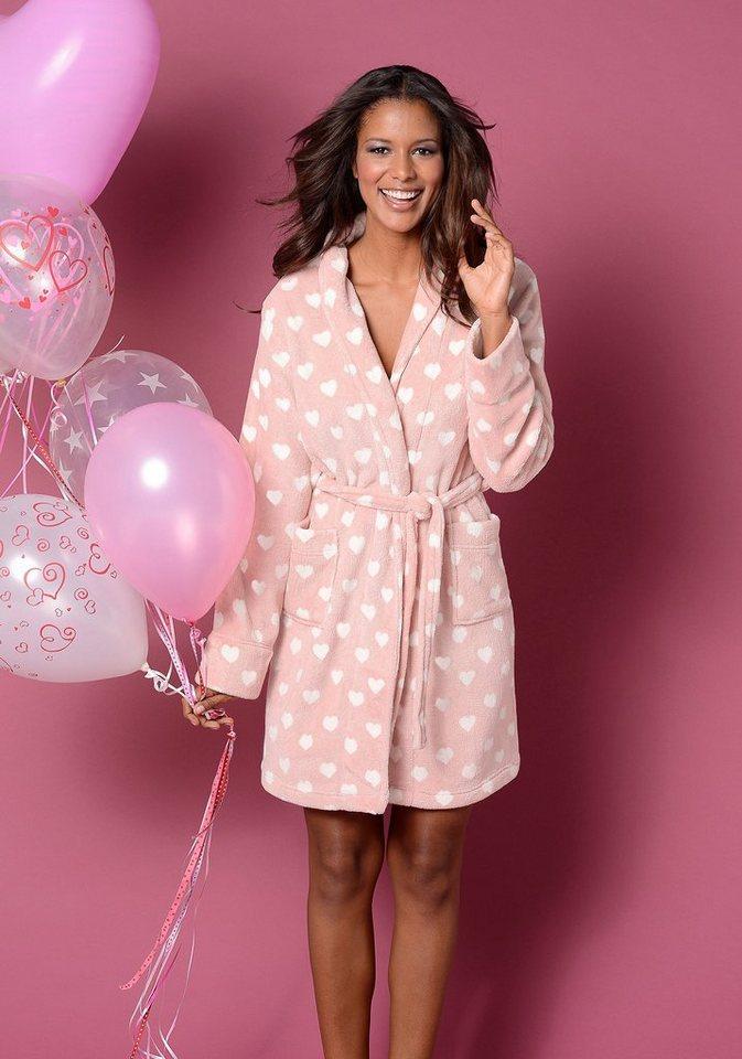 Vivance Dreams Morgenmantel aus Teddyplüsch mit Herzmuster in rosa mit Herzen