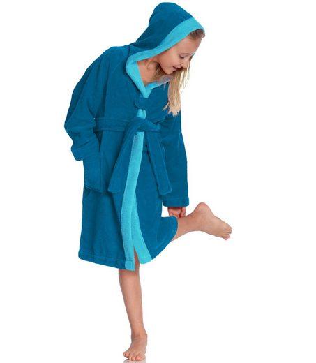 Kinderbademantel »Bixie«, Vossen, farblich abgesetzter Saum