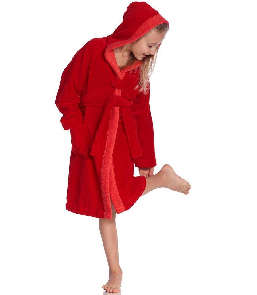 Kinderbademantel, Vossen, »Bixie«, farblich abgesetzter Saum in rot