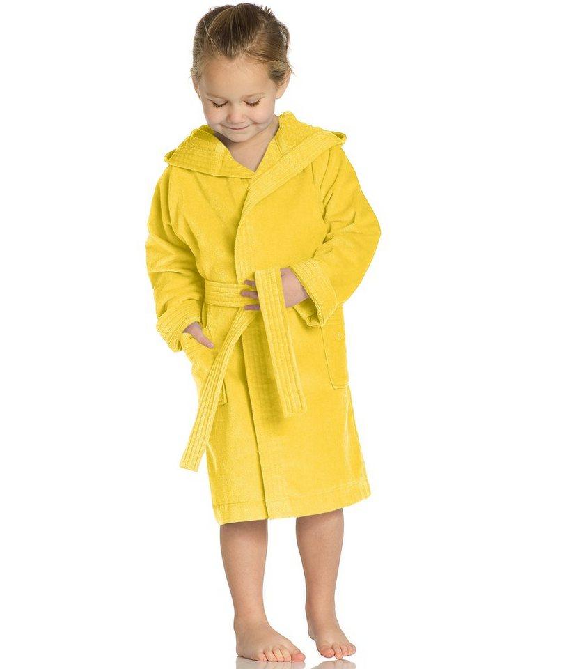 Kinderbademantel, Vossen, »Texie«, mit Kapuze in gelb