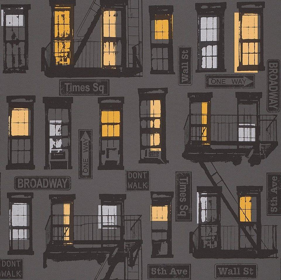 Papiertapete, Rasch, »Broadway« in schwarz, grau, gelb