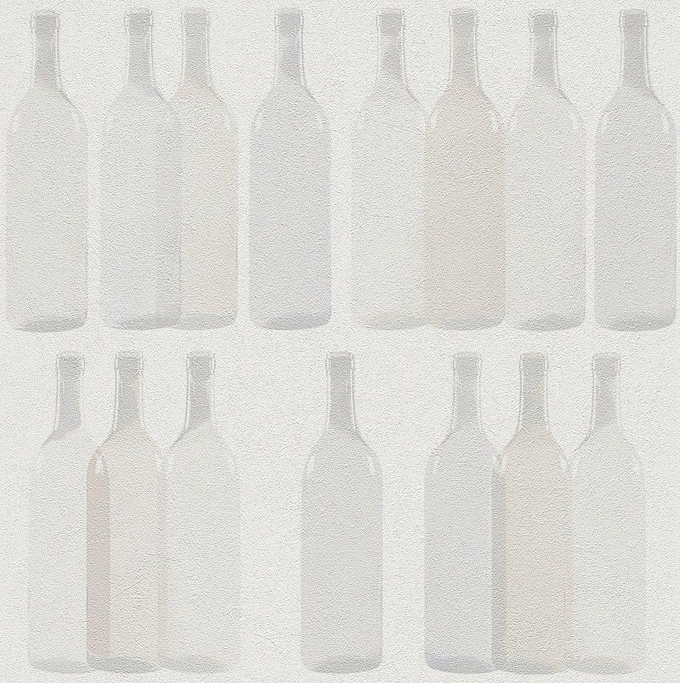 Vliestapete, Rasch, »Flaschen« in beige