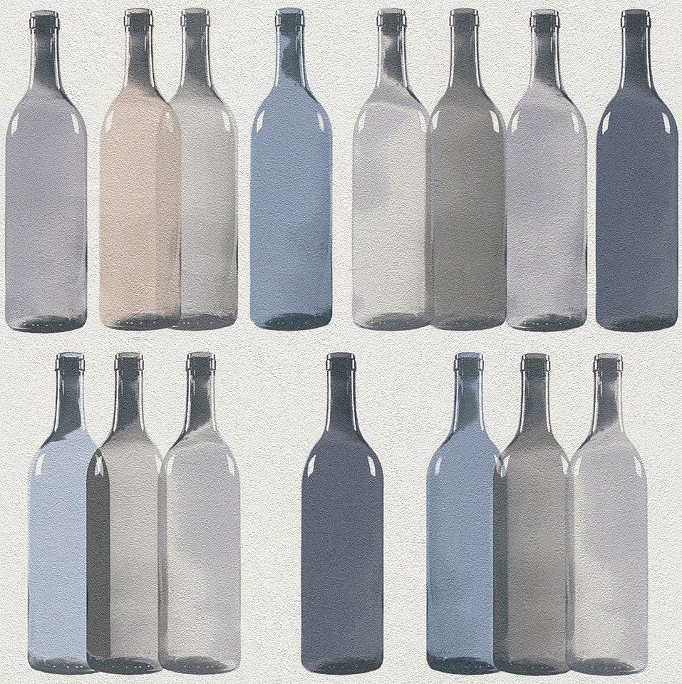 Vliestapete, Rasch, »Flaschen« in beige, blau