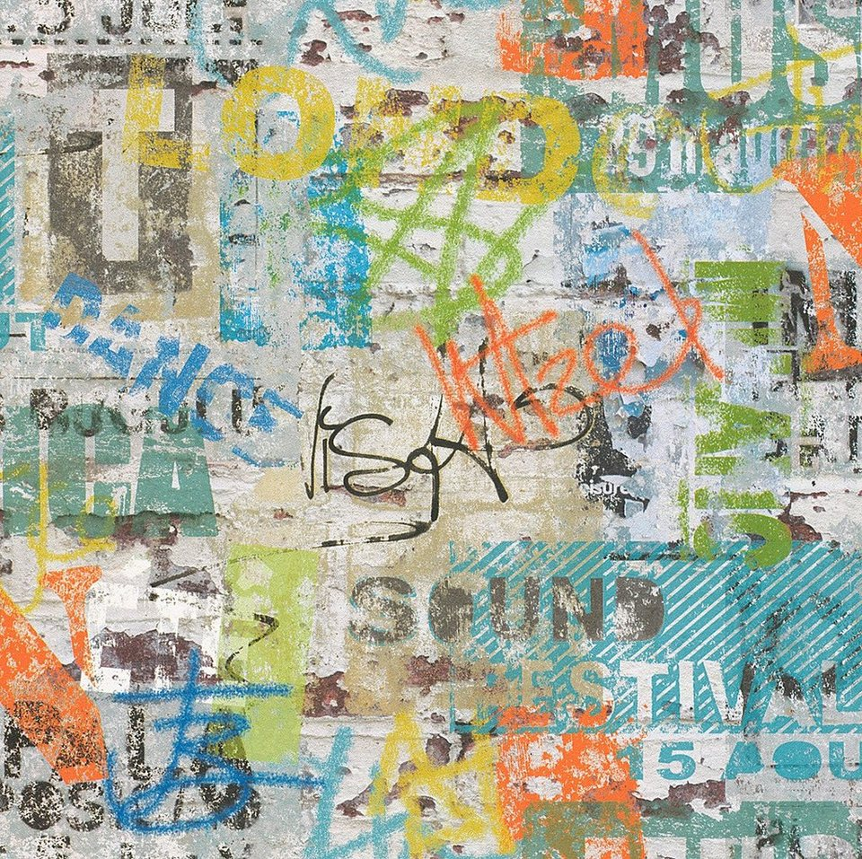 Papiertapete, Rasch, »Graffiti« in mehrfarbig