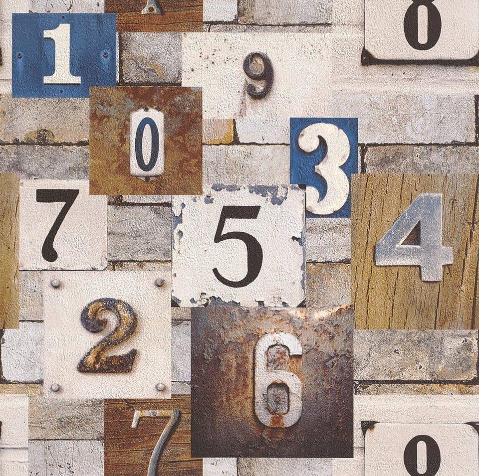 Papiertapete, Rasch, »Hausnummer« in braun