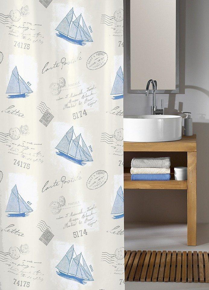 Duschvorhang »Sail Away« in weiß/blau
