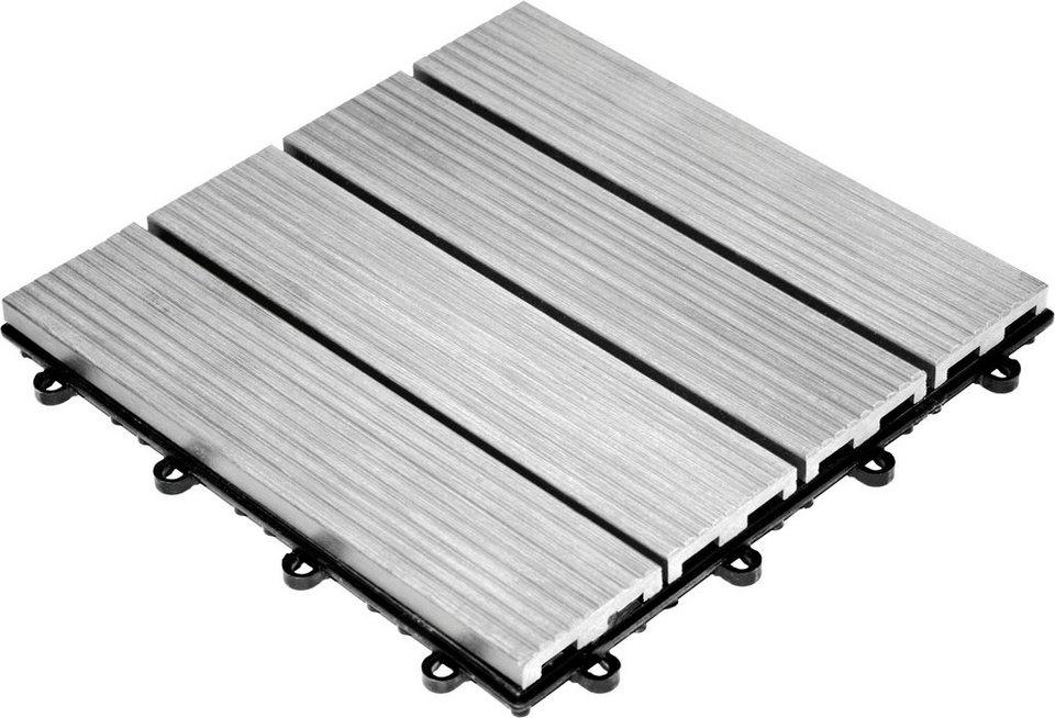 Set: WPC Klick-Fliesen »grau« (30 x 30 cm) in grau