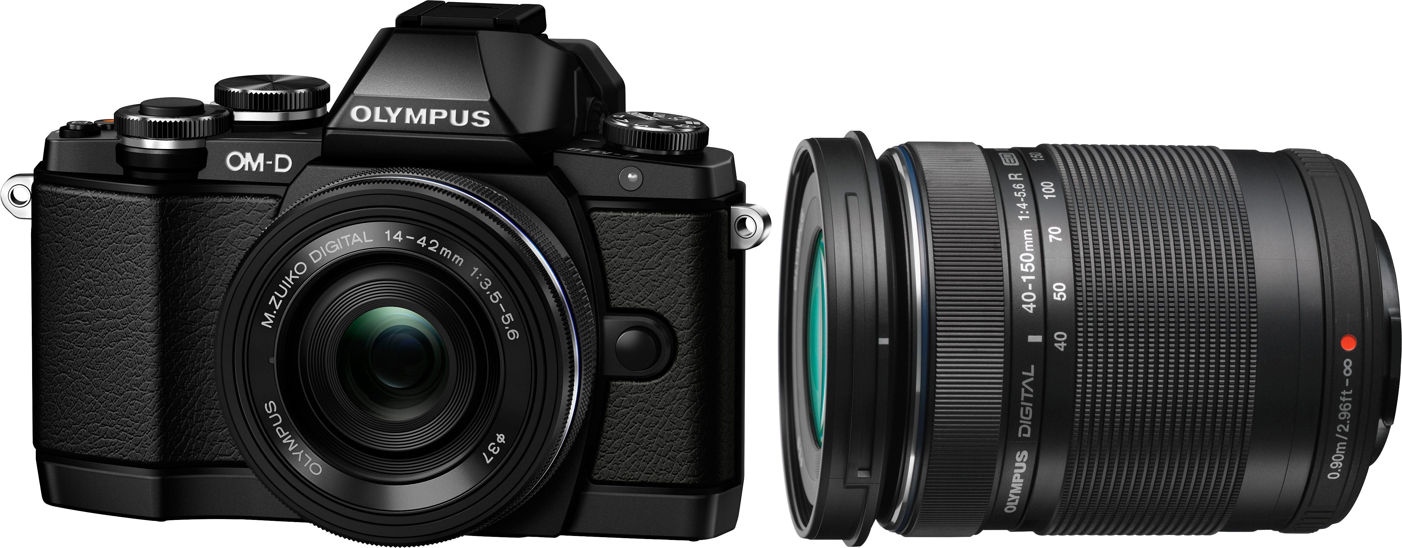 Olympus E-M10 OM-D Set System Kamera, inkl. 2 M.ZUIKO Objektive (ED 14-42mm EZ & 40-150mm), 16,1 MP