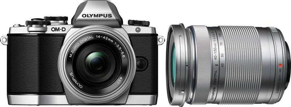 Olympus E-M10 OM-D Set System Kamera, inkl. 2 M.ZUIKO Objektive (ED 14-42mm EZ & 40-150mm), 16,1 MP in silberfarben