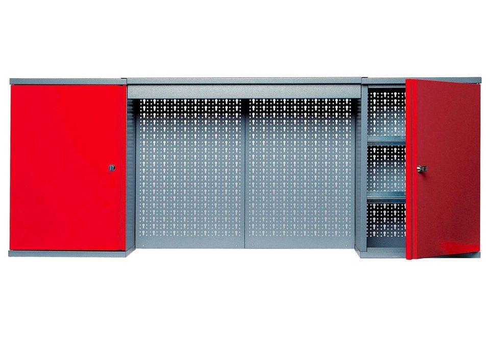Hängeschrank mit Lichtblende, 2 Türen, 4 Einlegeböden, in rot in rot