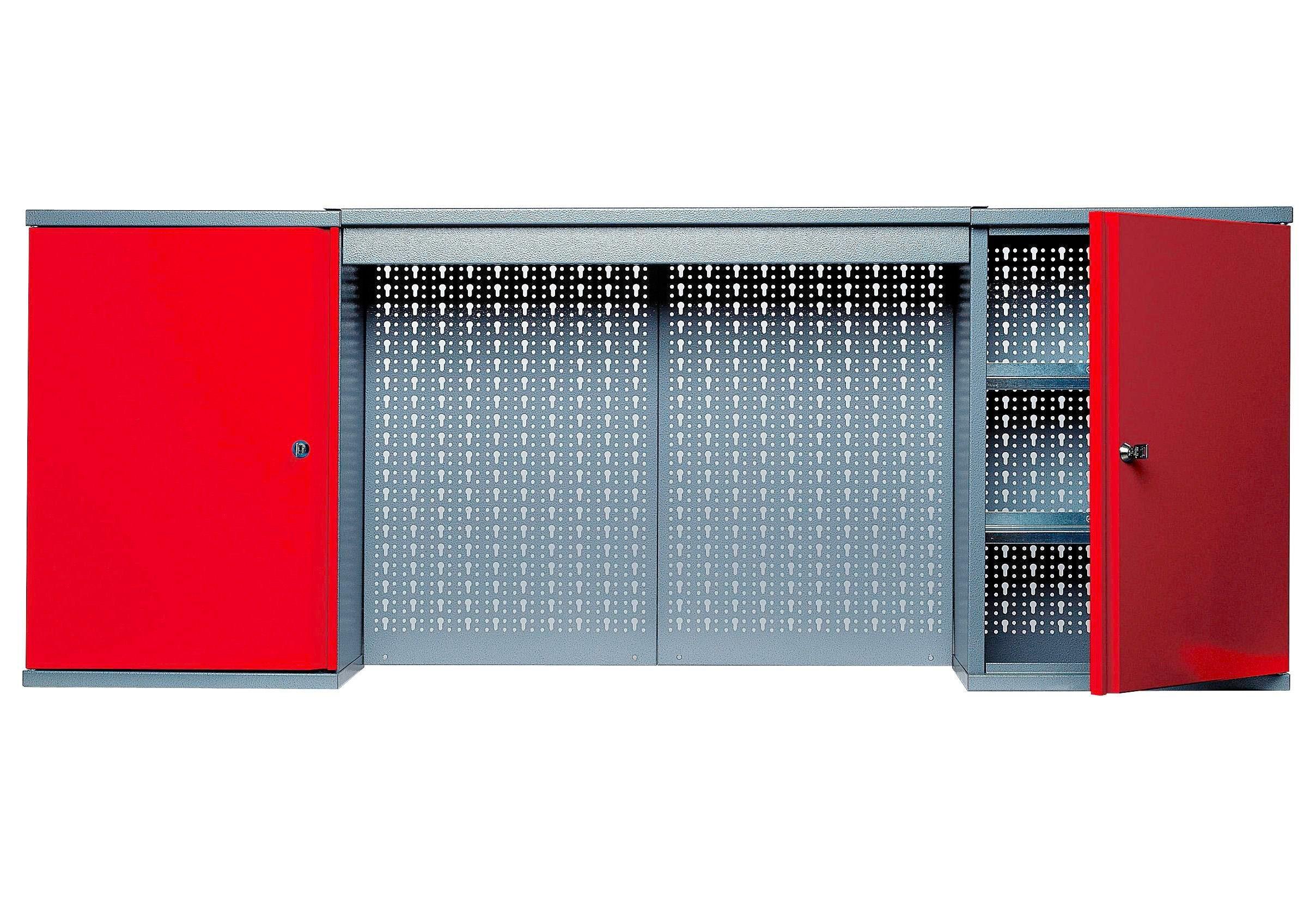 Küpper Hängeschrank mit Lichtblende, 2 Türen, 4 Einlegeböden, in rot