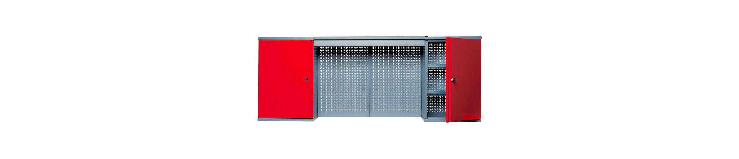 Hängeschrank mit Lichtblende, 2 Türen, 4 Einlegeböden, in rot