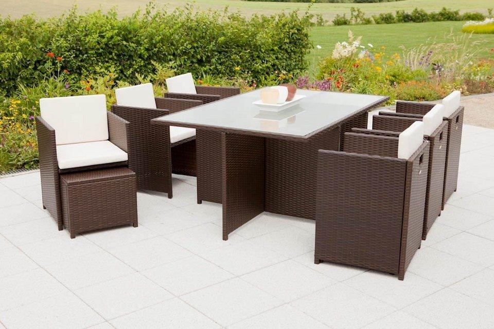 27-tgl. Gartenmöbelset »Verona«,6 Sessel,4 Fußhocker,Tisch168x110 cm, Polyrattan, braun in braun