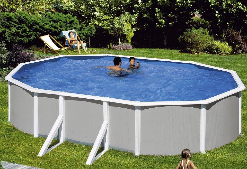 Mypool set 5 tlg ovalpool grau 132 cm tiefe in 3 for Otto pool oval