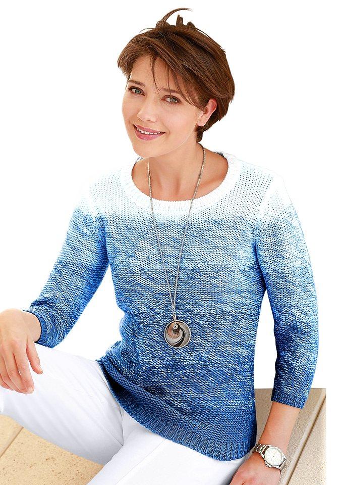 Collection L. Pullover mit harmonischen Farbverlauf in blau-weiß