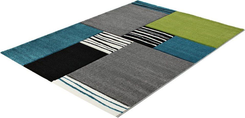 Teppich »PRIME 210«, handgearbeitet, Trend Teppiche in blau