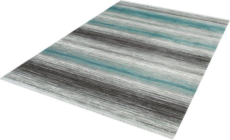 Teppich, angora HALI, »TARZ 3132«, handgearbeitet in blau