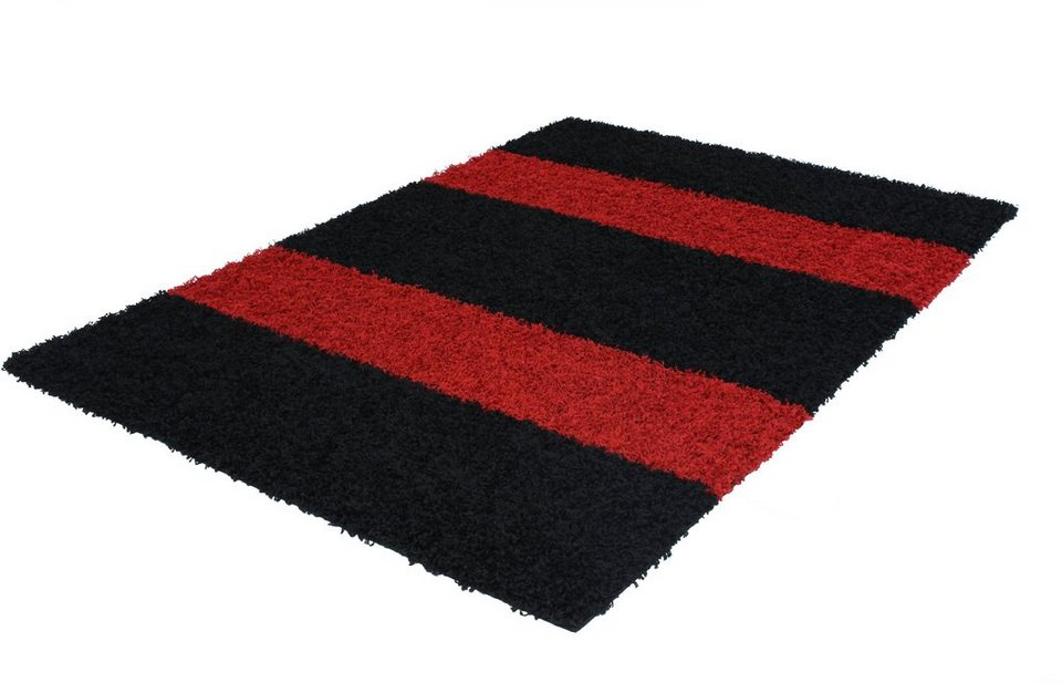 Hochflor-Teppich »MILO STRIPE 1010«, Höhe 45 mm, Trend teppiche in rot