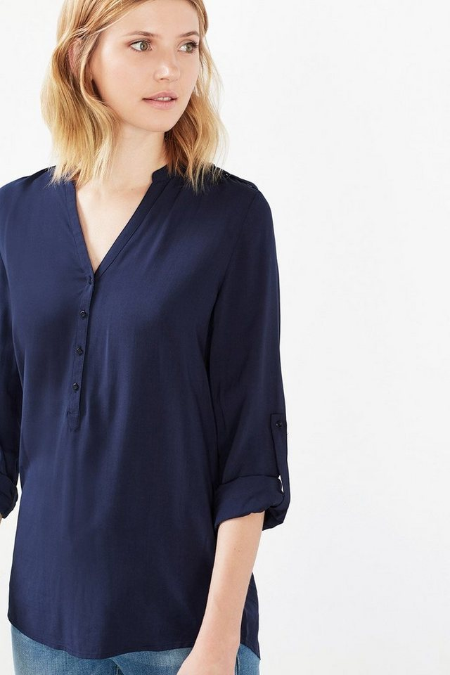 ESPRIT CASUAL Fließende Turn-up-Bluse in CINDER BLUE