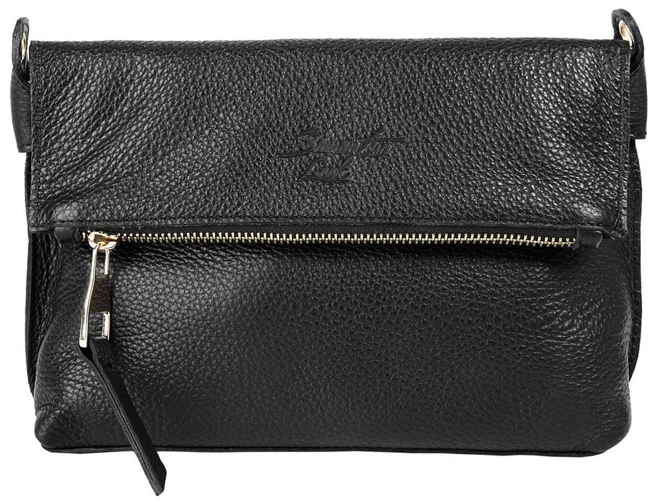Samantha Look Leder Damen Clutch in schwarz