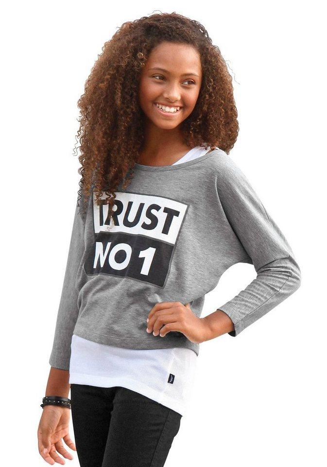 """Arizona Shirt """"TRUST NO 1"""" (2 Stück), für Mädchen in Grau-Meliert-Weiß"""