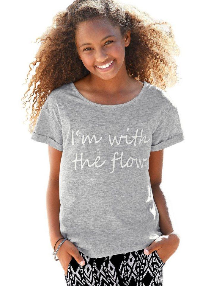 Buffalo T-Shirt für Mädchen, in weiter Form in grau-meliert