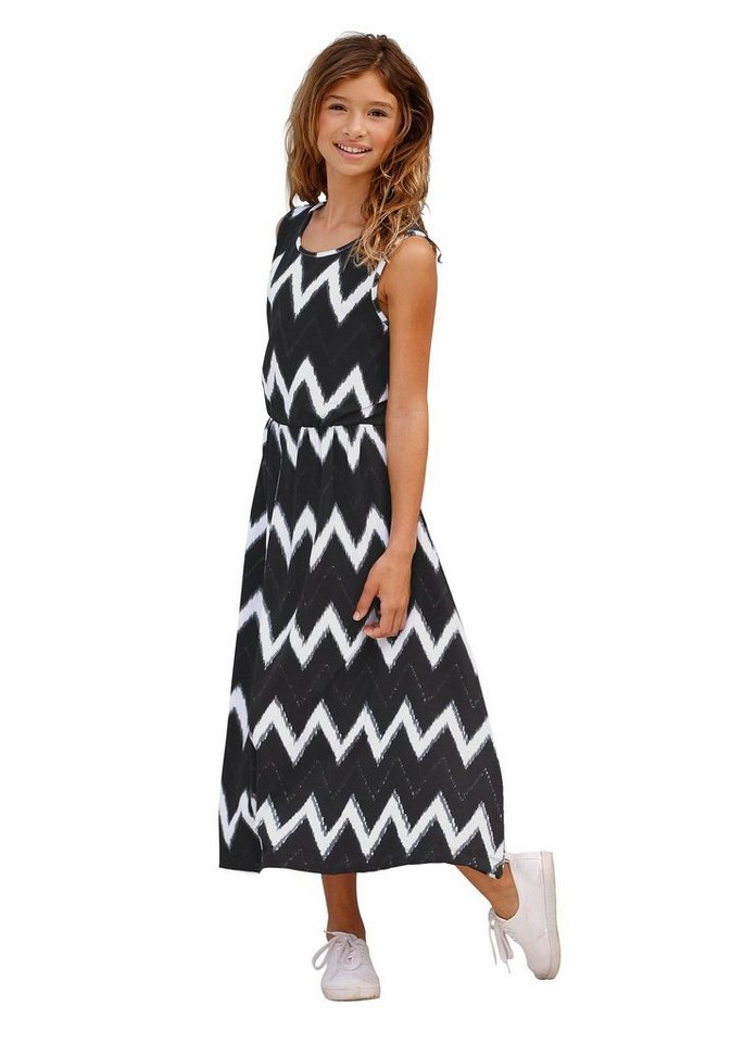 Arizona Jerseykleid mit Ethno-Muster in bedruckt-schwarz-weiß